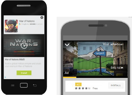 Пример рекламы в сетях Google и AdMob